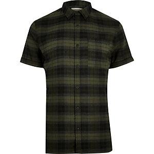 Green check stretch short sleeve slim shirt