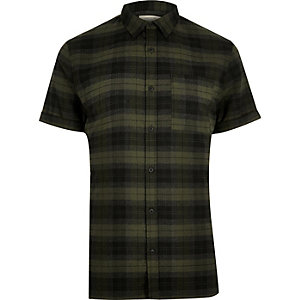 Green check stretch short sleeve slim shirt