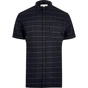 Navy check stretch short sleeve slim shirt