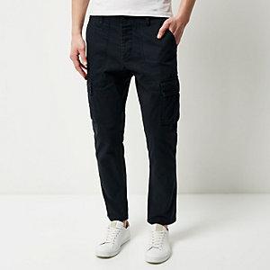 Navy slim cargo trousers
