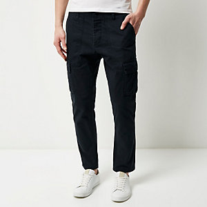 Navy slim cargo pants