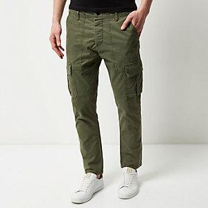 Khaki slim cargo pants