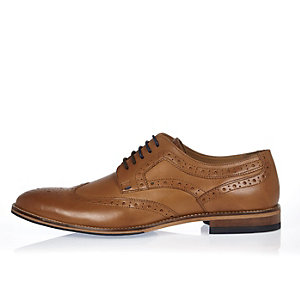 Tan leather contrast lace brogues