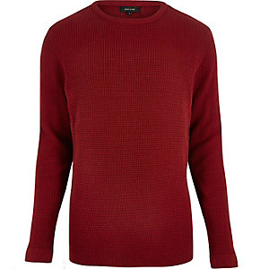 Red waffle texture sweater