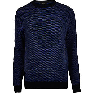 Dark blue textured knit sweater