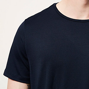 Navy all over texture t-shirt
