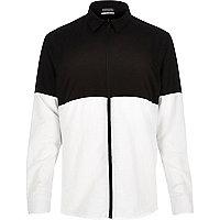 Black Antioch block zip-up shirt