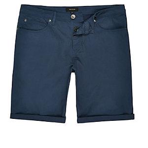 Blue slim fit bermuda shorts