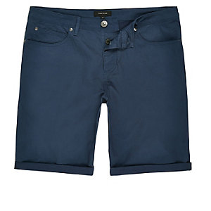 Blue slim five pocket knee length shorts