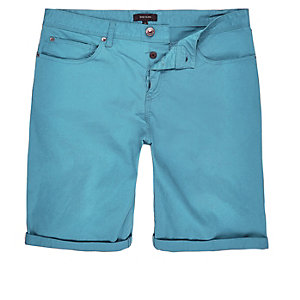 Blue slim five pocket bermuda shorts