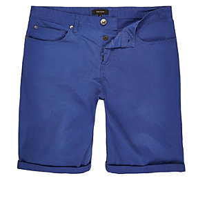 Bright blue slim fit chino shorts