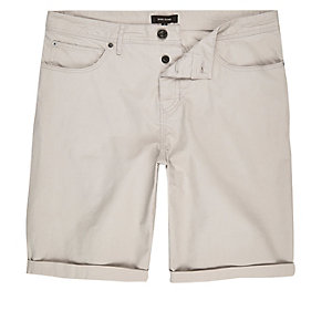 Light grey slim fit chino shorts
