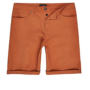 Rust slim fit chino shorts