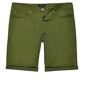 Khaki green slim five pocket bermuda shorts