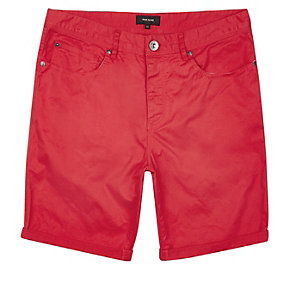 Red slim fit chino shorts