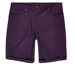 Purple slim fit chino shorts