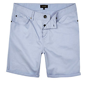 Blue cotton five pocket shorts