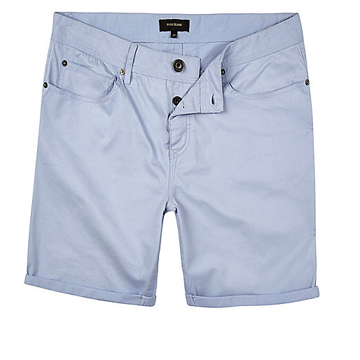 Blue slim five pocket shorts