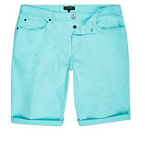 Fluro green slim fit chino shorts