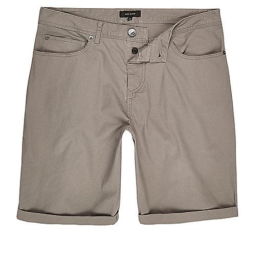 Grey slim five pocket shorts