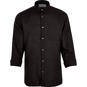 Black linen-rich shirt