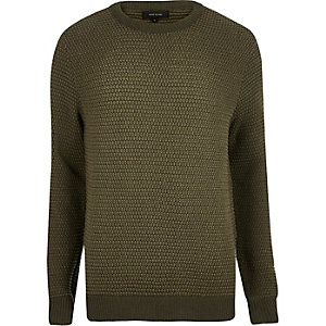 Khaki green textured knitted sweater
