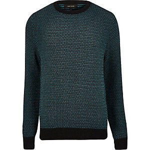 Teal textured knitted jumper