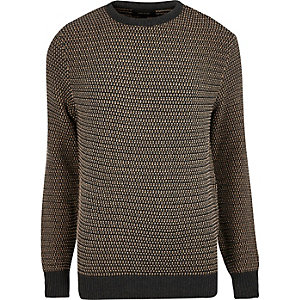 Brown textured knitted jumper