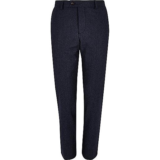 Navy wool-blend skinny suit pants