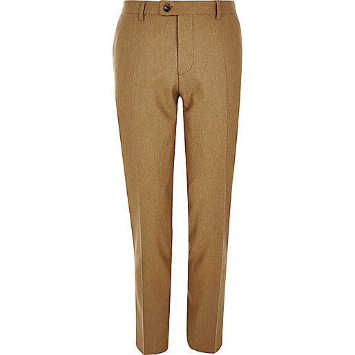 Camel wool-blend skinny suit pants