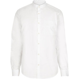 White twill grandad shirt