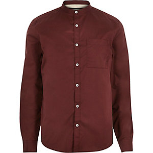 Red twill grandad shirt
