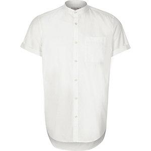 White twill grandad short sleeve shirt