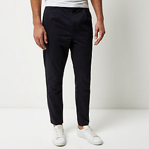 Navy relaxed tapered pants