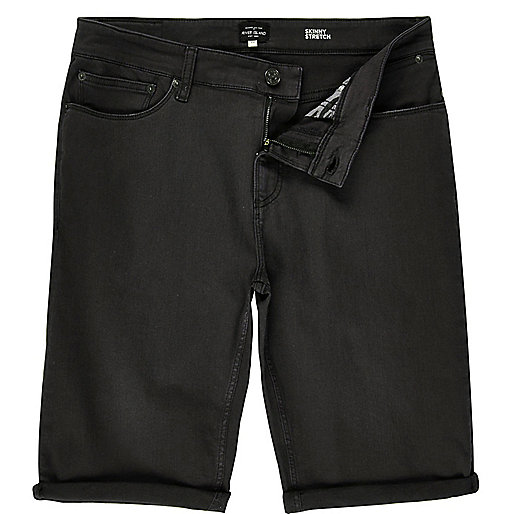 Graue Skinny-Fit-Jeansshorts