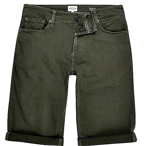 Khaki skinny fit denim shorts