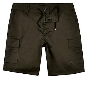 Khaki drawstring slim bermuda shorts