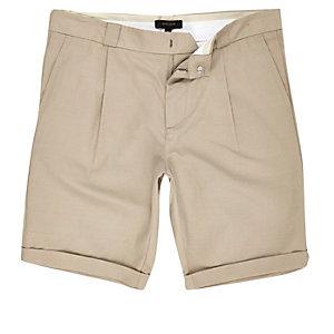 Light brown slim chino shorts