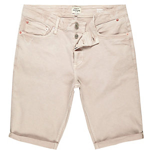 Pink skinny fit denim shorts