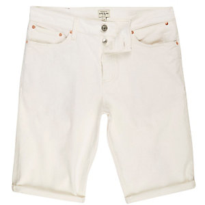 White denim skinny fit shorts
