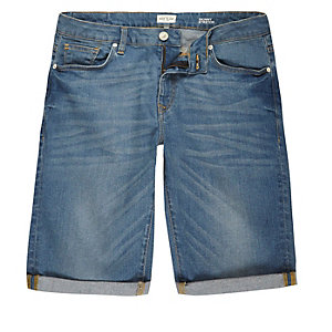 Mid blue wash skinny fit denim shorts