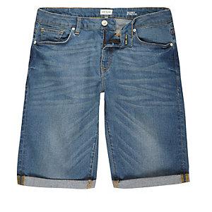 Blue wash skinny stretch shorts
