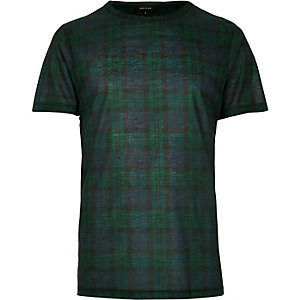 Dark green plaid check t-shirt