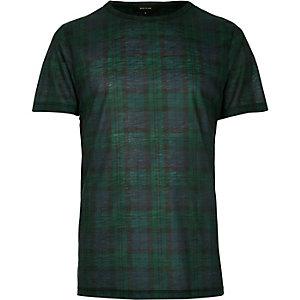 Dark green plaid check t-shirt