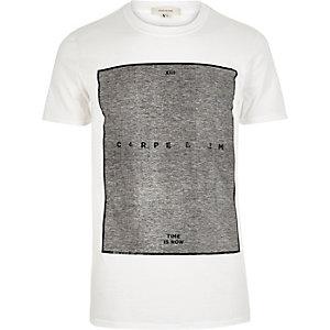 White carpe diem print t-shirt