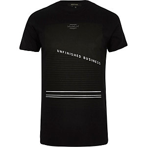 Black unfinished business print t-shirt
