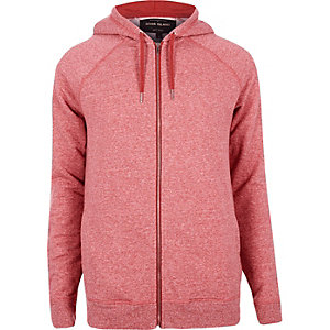 Red marl zip through hoodie