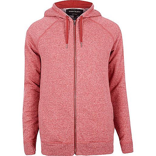 Red marl zip through hoodie