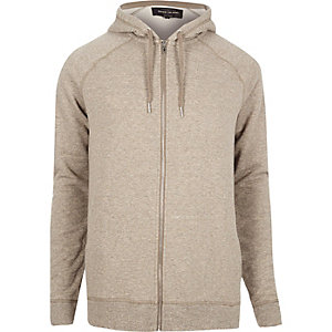 Ecru marl zip through hoodie