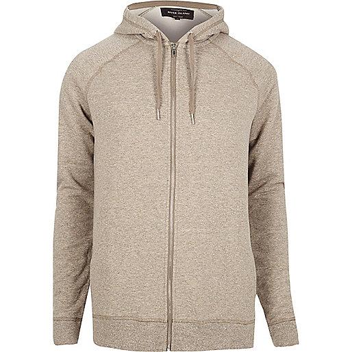 Ecru marl zip through hoodie